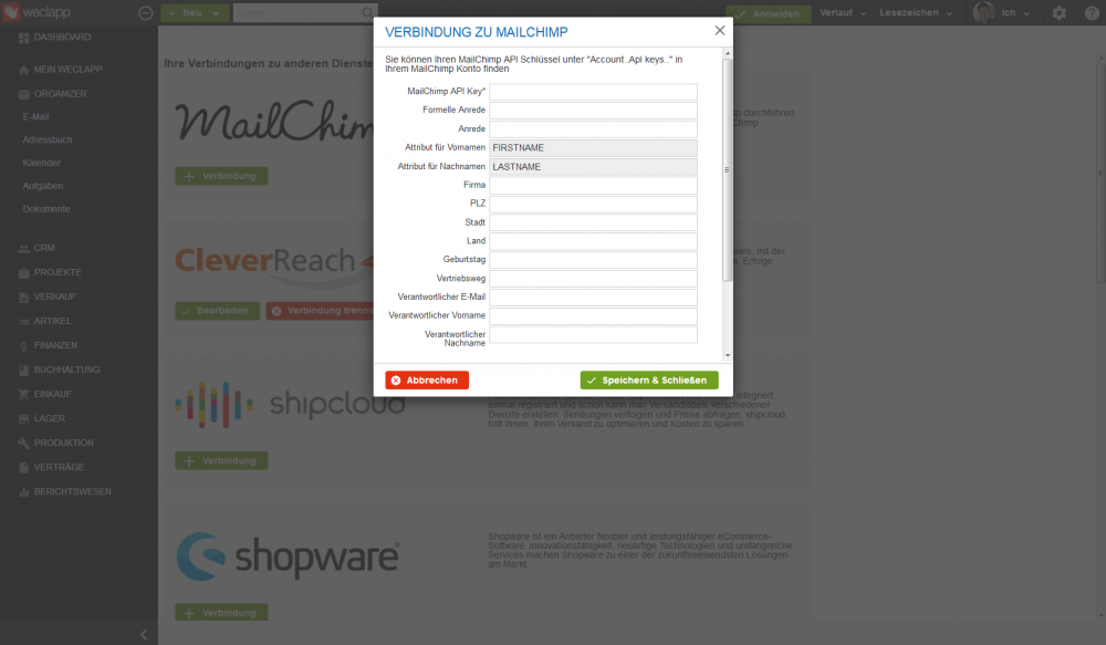 Verbindung zu MailChimp