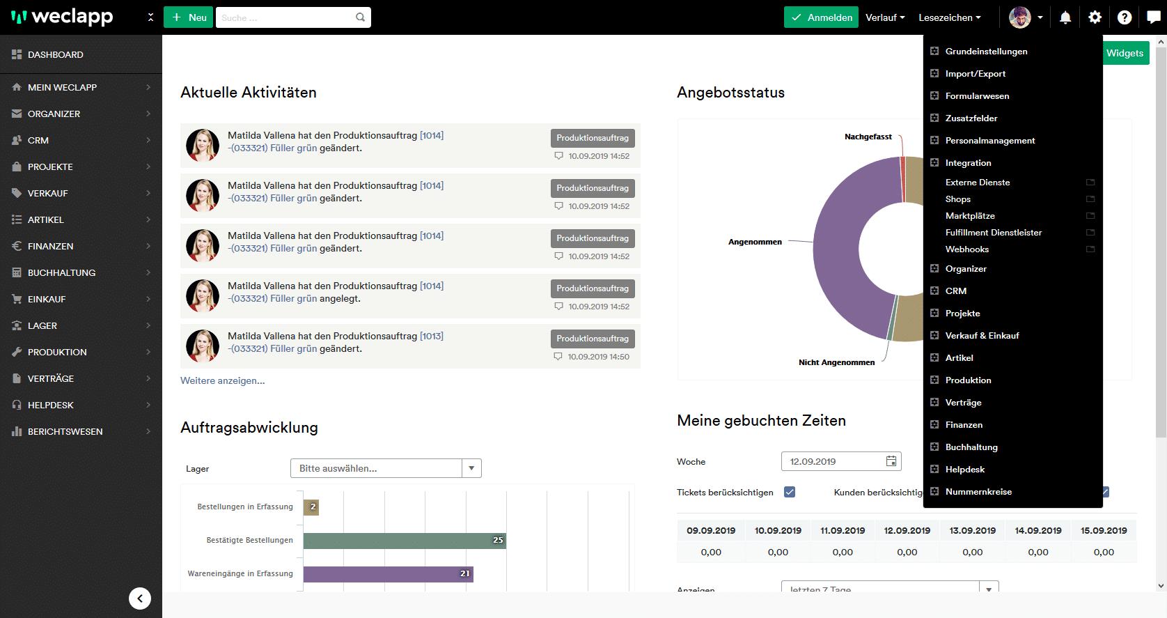 weclapp mailchimp dashboard