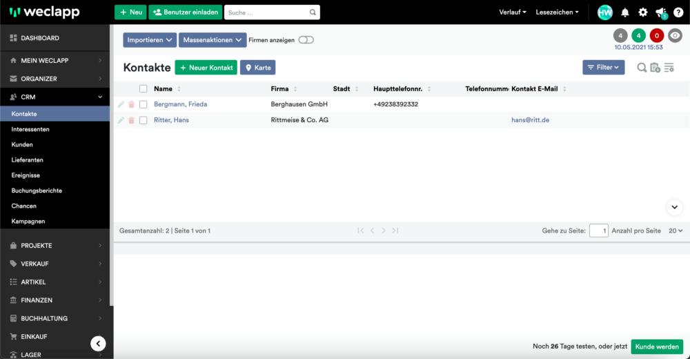 weclapp Kontakte Screenshot